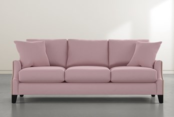 "Kayla II Velvet Pink 88"" Nailhead Sofa"