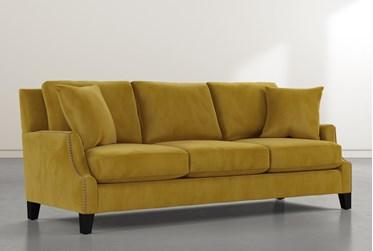 "Kayla II Velvet Yellow 88"" Nailhead Sofa"