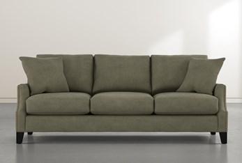 """Kayla II Green 88"""" Nailhead Sofa"""