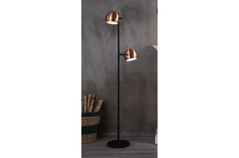Floor Lamp - 60 Inch Black + Copper Shade