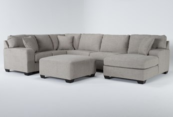 Bryton Jute 3 Piece Sectional With Right Arm Facing Chaise and Cocktail Ottoman