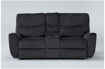 "Ronan Steel 77"" Power Reclining Loveseat With Console"