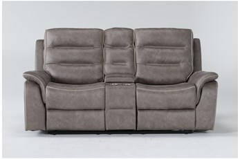 """Sirus Grey 76"""" Power Reclining Loveseat With Console"""