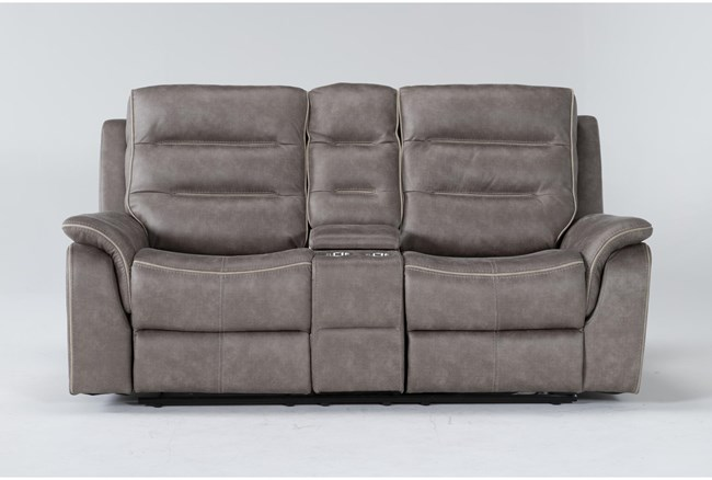 """Sirus 76"""" Power Reclining Loveseat With Console - 360"""