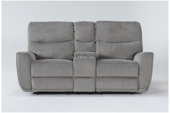 "Ronan Oatmeal 77"" Power Reclining Loveseat With Console"