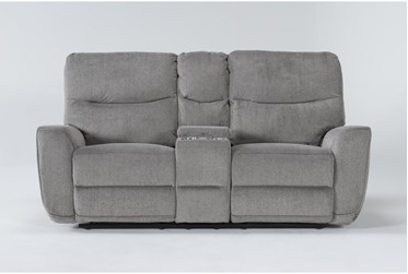 """Ronan Oatmeal 77"""" Power Reclining Loveseat With Console"""