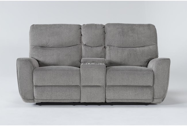 """Ronan Oatmeal 77"""" Power Reclining Loveseat With Console - 360"""