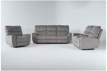 Ronan Oatmeal 3 Piece Power Reclining Living Room Set