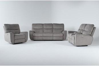 Ronan Oatmeal 3 Piece Power Reclining Living Room Set