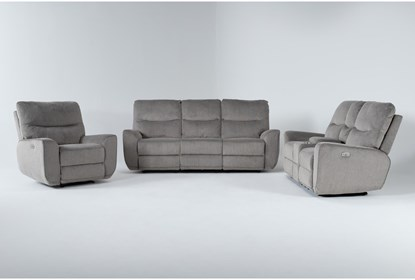 Ronan Oatmeal 3 Piece Power Reclining, Fabric Living Room Sets With Recliner