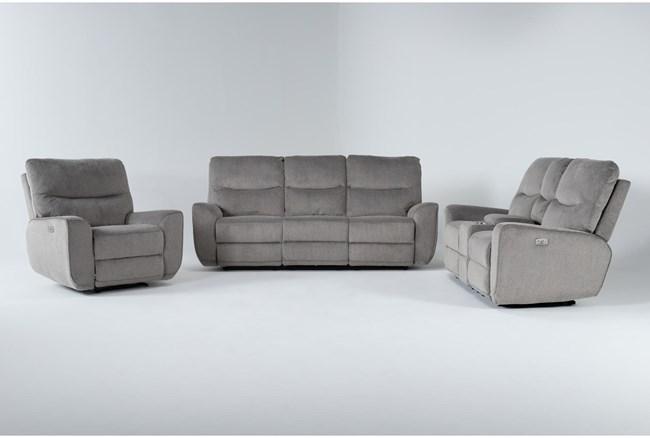 Ronan Oatmeal 3 Piece Power Reclining Living Room Set - 360