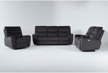 Ronan Steel 3 Piece Power Reclining Living Room Set