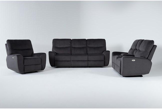 Ronan Steel 3 Piece Power Reclining Living Room Set - 360