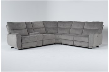 "Ronan Oatmeal 6 Piece 127"" Power Reclining Sectional"