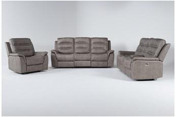 Sirus Grey 3 Piece Power Reclining Living Room Set