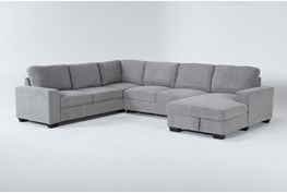 """Finneas Grey 3 Piece 131"""" Convertible Sleeper Sectional With Right Arm Facing Storage Chaise"""