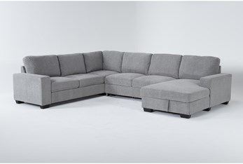 """Finneas 3 Piece 131"""" Convertible Sleeper Sectional With Right Arm Facing Storage Chaise"""