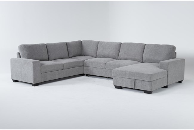 """Finneas Grey 3 Piece 131"""" Convertible Sleeper Sectional With Right Arm Facing Storage Chaise - 360"""
