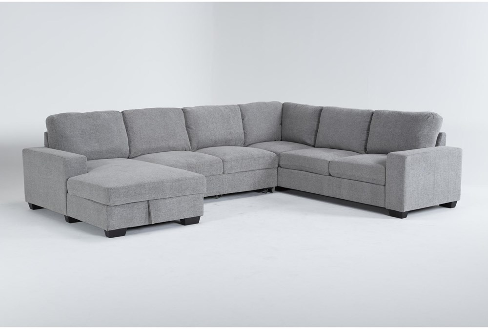 """Finneas Grey 3 Piece 131"""" Convertible Sleeper Sectional With Left Arm Facing Storage Chaise"""