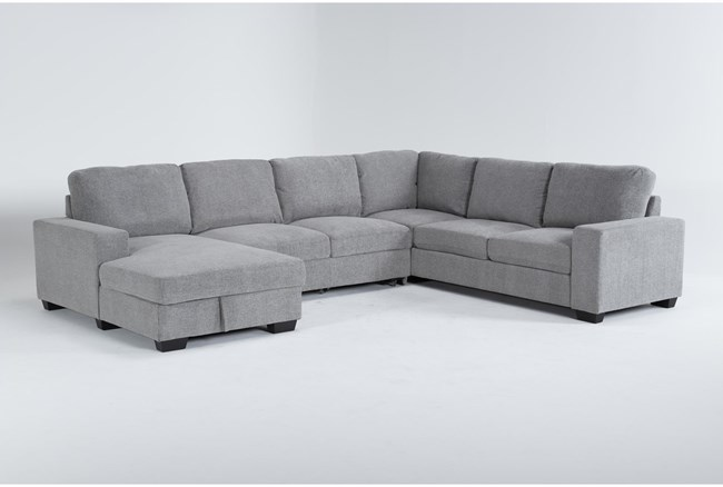 """Finneas Grey 3 Piece 131"""" Convertible Sleeper Sectional With Left Arm Facing Storage Chaise - 360"""