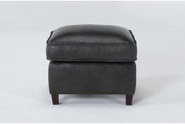 Simon Slate Leather Ottoman