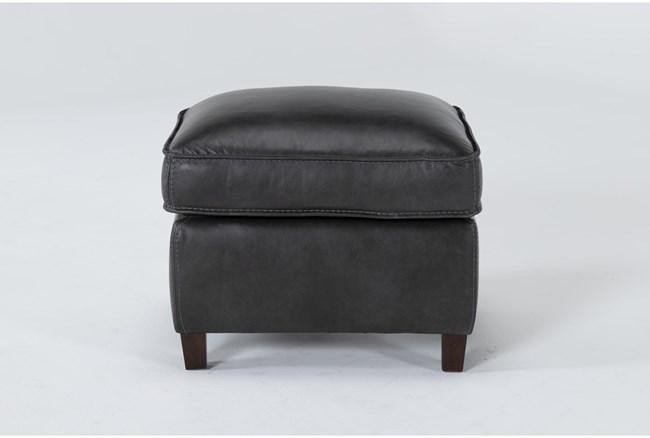 Simon Slate Leather Ottoman - 360