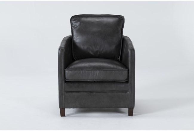 Simon Slate Leather Arm Chair - 360