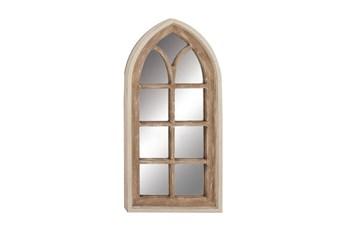 Mirror-53 Inch Antique White + Natural Gothic Arch