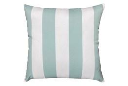22X22 Spa Blue + White Cabana Stripes Outdoor Throw Pillow