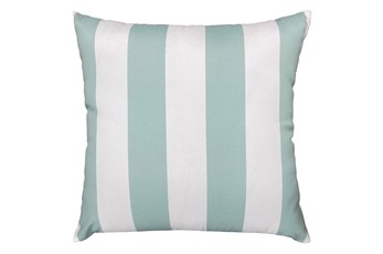 22X22 Spa Blue + White Cabana Stripes Outdoor Throw Pillow