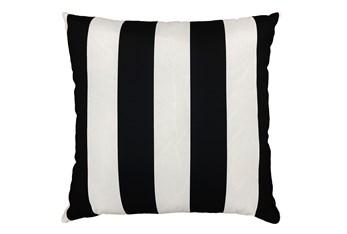 22X22 Black + White Cabana Stripes Outdoor Throw Pillow