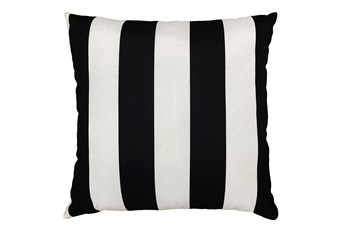22X22 Black + White Cabana Stripes Outdoor Throw Pillow