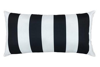 14X26 Black + White Cabana Stripes Outdoor Throw Pillow