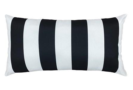 14X26 Black + White Cabana Stripes Outdoor Throw Pillow - Main