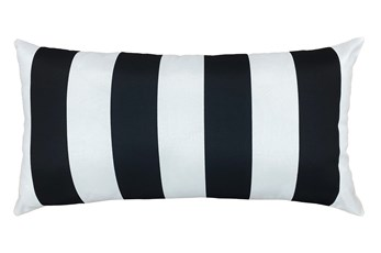 14X26 Black + White Cabana Stripes Outdoor Throw Pillow