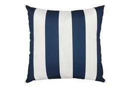 22X22 Navy Blue + White Cabana Stripes Outdoor Throw Pillow