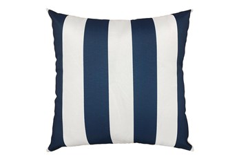 22X22 Navy Blue + White Cabana Stripes Outdoor Throw Pillow