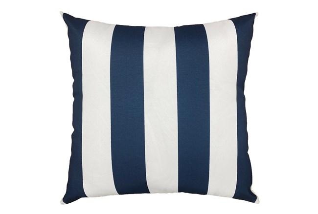 22X22 Navy Blue + White Cabana Stripes Outdoor Throw Pillow - 360