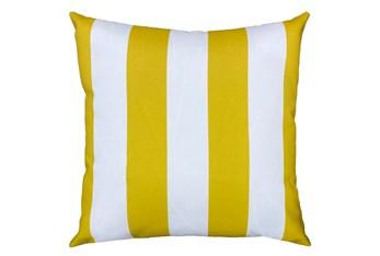 22X22 Yellow + White Cabana Stripes Outdoor Throw Pillow