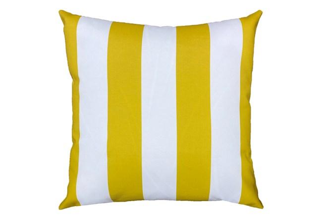 22X22 Yellow + White Cabana Stripes Outdoor Throw Pillow - 360