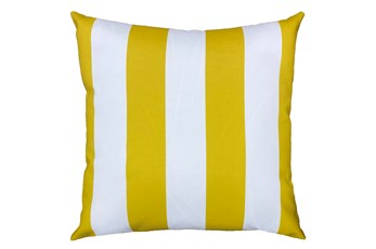 22X22 Yellow + White Cabana Stripes Outdoor Throw Pillow