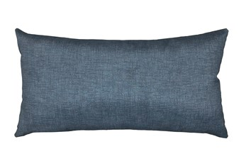 14X26 Black Charcoal Textured Solid Outdoor Throw Pillow