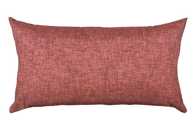 14X26 Terracotta Red Textured Solid Outdoor Throw Pillow - 360
