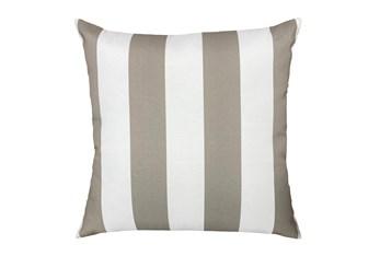 22X22 Taupe + White Cabana Stripes Outdoor Throw Pillow