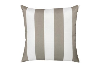 22X22 Taupe + White Cabana Stripes Outdoor Throw Pillow