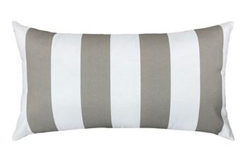 14X26 Taupe + White Cabana Stripes Outdoor Throw Pillow