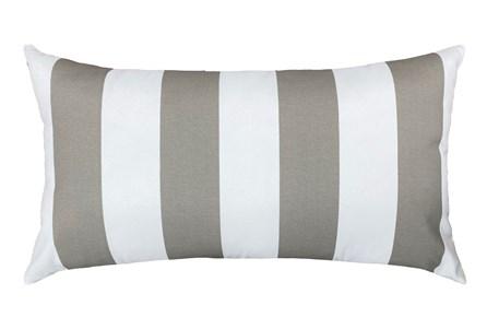 14X26 Taupe + White Cabana Stripes Outdoor Throw Pillow - Main