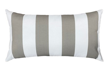 14X26 Taupe + White Cabana Stripes Outdoor Throw Pillow