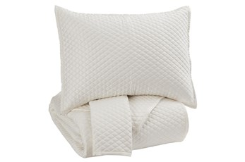 Eastern King Quilt-3 Piece Set Diamonds Ivory