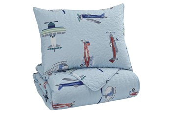 Twin Quilt-2 Piece Set Airplanes Multi